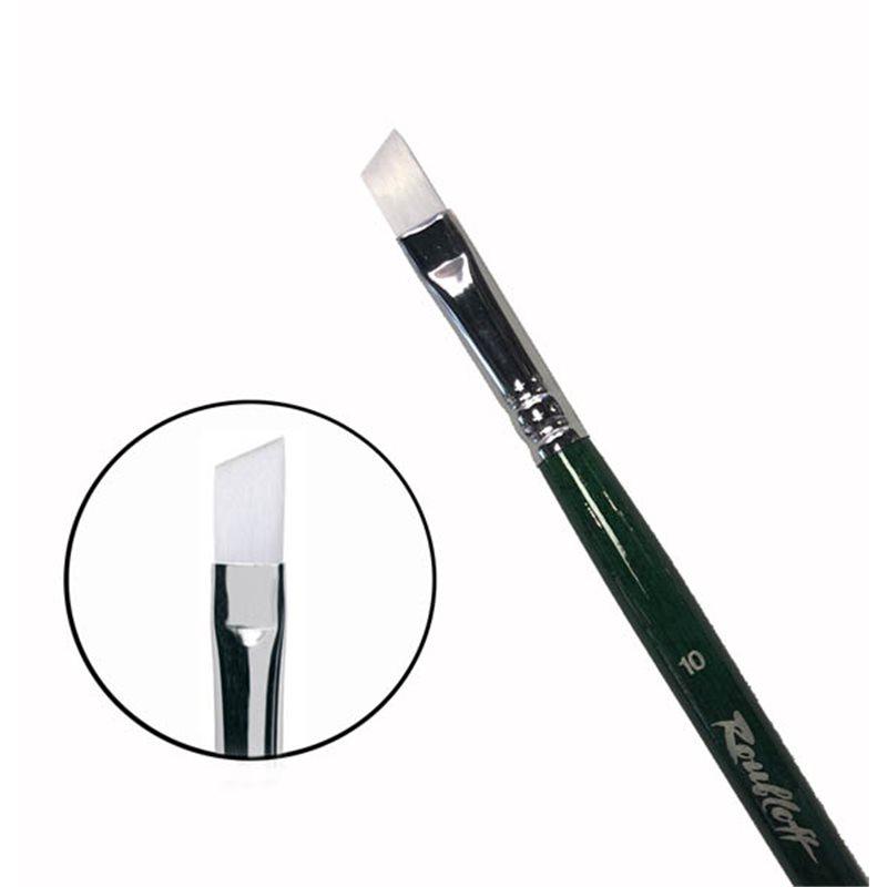 Купить Кисть синтетика №10 скошенная жемчужная Roubloff 1P6G длинная ручка, Россия