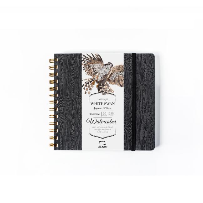 Купить Скетчбук для акварели Малевичъ White Swan Torchon 16х16 см 20 л 250 г, черный, Китай