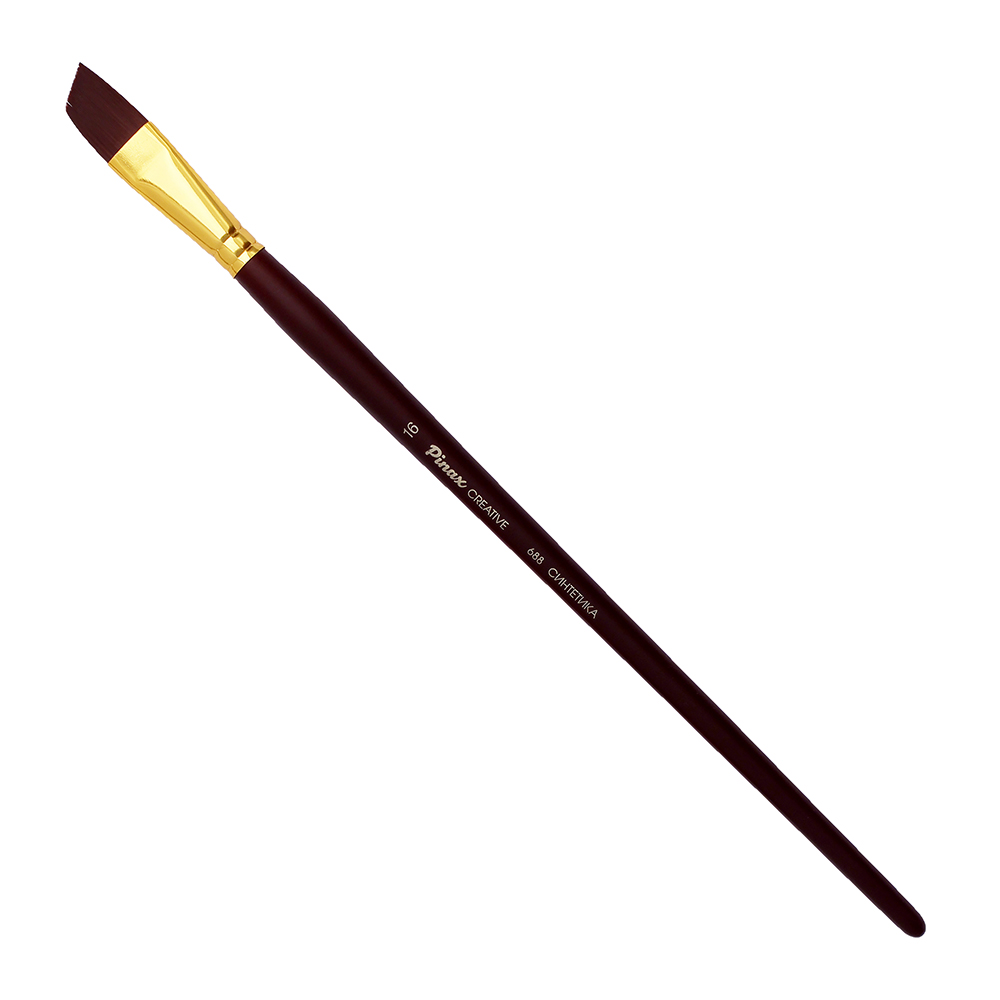 Купить Кисть синтетика №16 скошенная Pinax Creative 688 жесткая, длинная ручка, Китай