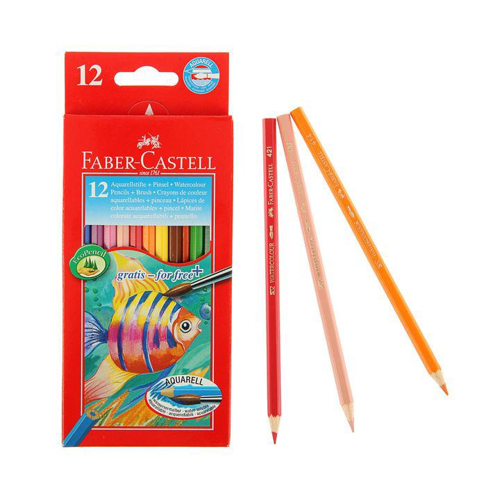 """Набор карандашей акварельных Faber-castell """"Color Pencils"""" 12 цв + кисточка, в картонной коробке"""