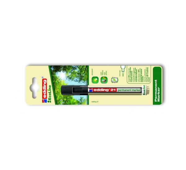 Купить Маркер перманентный Edding 21 EcoLine 1, 5-3 мм с круглым наконечником, в блистере, черный, Германия