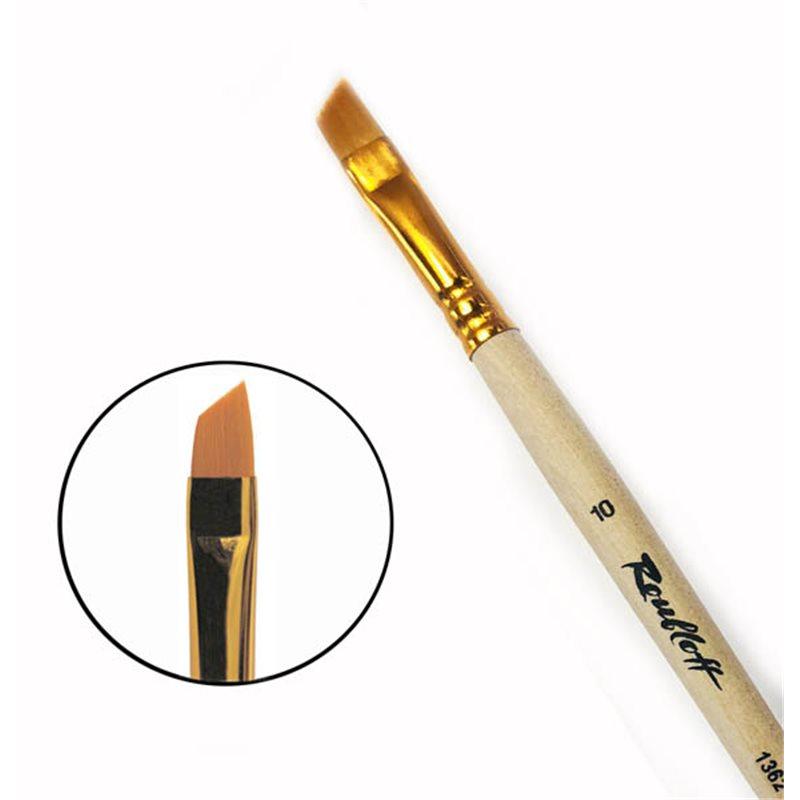 Купить Кисть синтетика №10 скошенная Roubloff 1362 длинная ручка п/лак, Россия