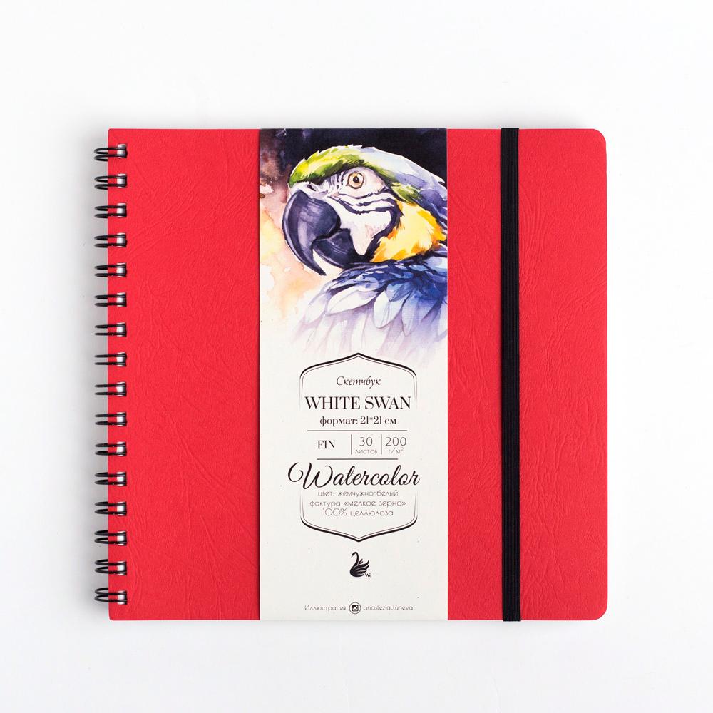 Купить Скетчбук для акварели White Swan , Fin, 200 г/м2, 21х21 см, 30 л, красный, Малевичъ, Китай