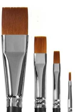 Купить Кисть синтетика №4 плоская Живописные кисти 1322 длинная ручка п/лак, Россия