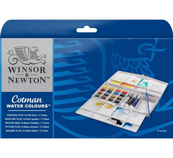 Купить Набор акварели Winsor&Newton Cotman 16 мал кювет + 3 тюб*8 мл + кисть в пласт кор, Winsor & Newton