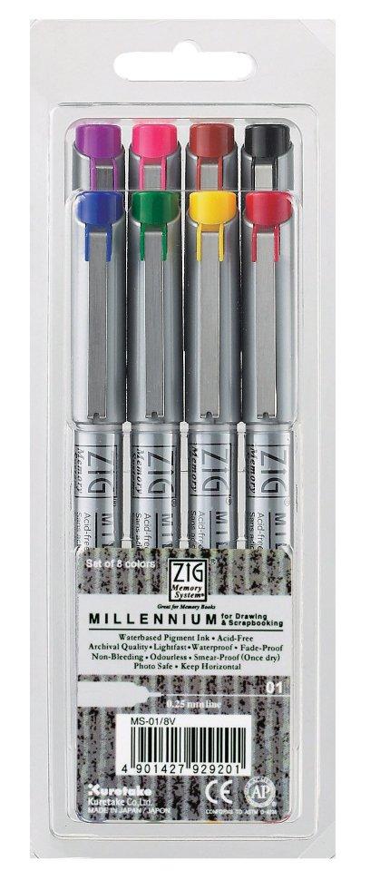 Купить Набор ручек капиллярных ZIG Millennium 0, 25 мм, 8 цветов, ZIG Kuretake, Япония