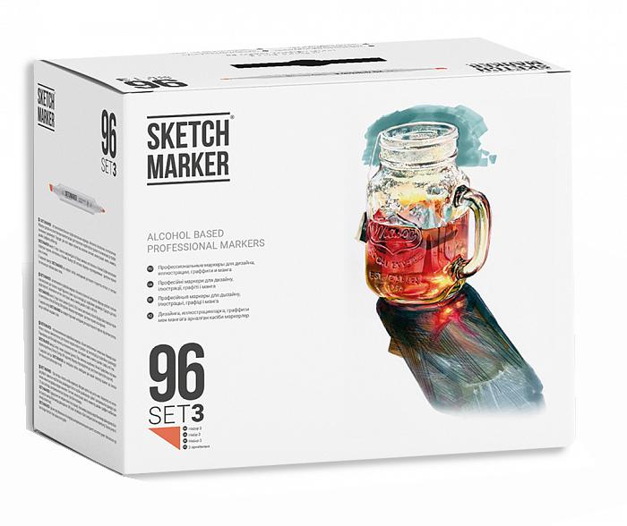 Купить Набор маркеров Sketchmarker 96 set 3 - (96 маркеров в пластиковом кейсе), Япония