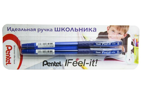 Купить Набор ручек шариковых Pentel Feel it!, 2 шт 0, 5 мм, метал. наконеч, 3-х гранная зона захвата, синие, Япония