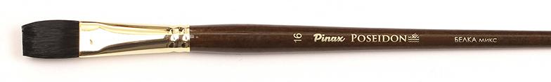 Кисть белка микс №16 плоская Pinax Poseidon 805 длинная ручка, Китай  - купить со скидкой