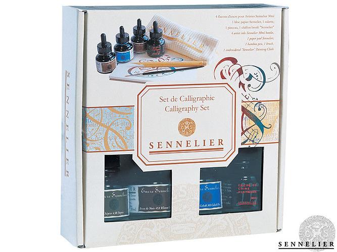 Купить со скидкой Набор для каллиграфии: тушь 4 шт*30 мл+аксессуары в картонной коробке Sennelier