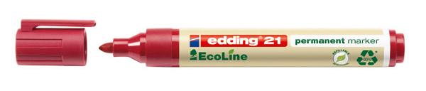Купить Маркер перманентный Edding 21 EcoLine 1, 5-3 мм с круглым наконечником, красный, Германия