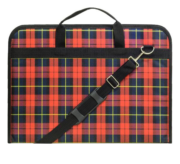 Купить Папка на молнии А3 ткань Шотландка наплечный ремень, Эстадо, Россия