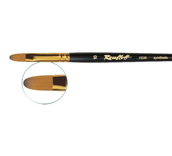 Кисть синтетика под колонок №12 овальная Roubloff 1S35 короткая ручка, Россия  - купить со скидкой
