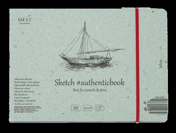 Купить Скетчбук Smiltainis White #authenticbook (белый) с резинкой 24, 5x17, 6 см 32 л 90 г, Литва