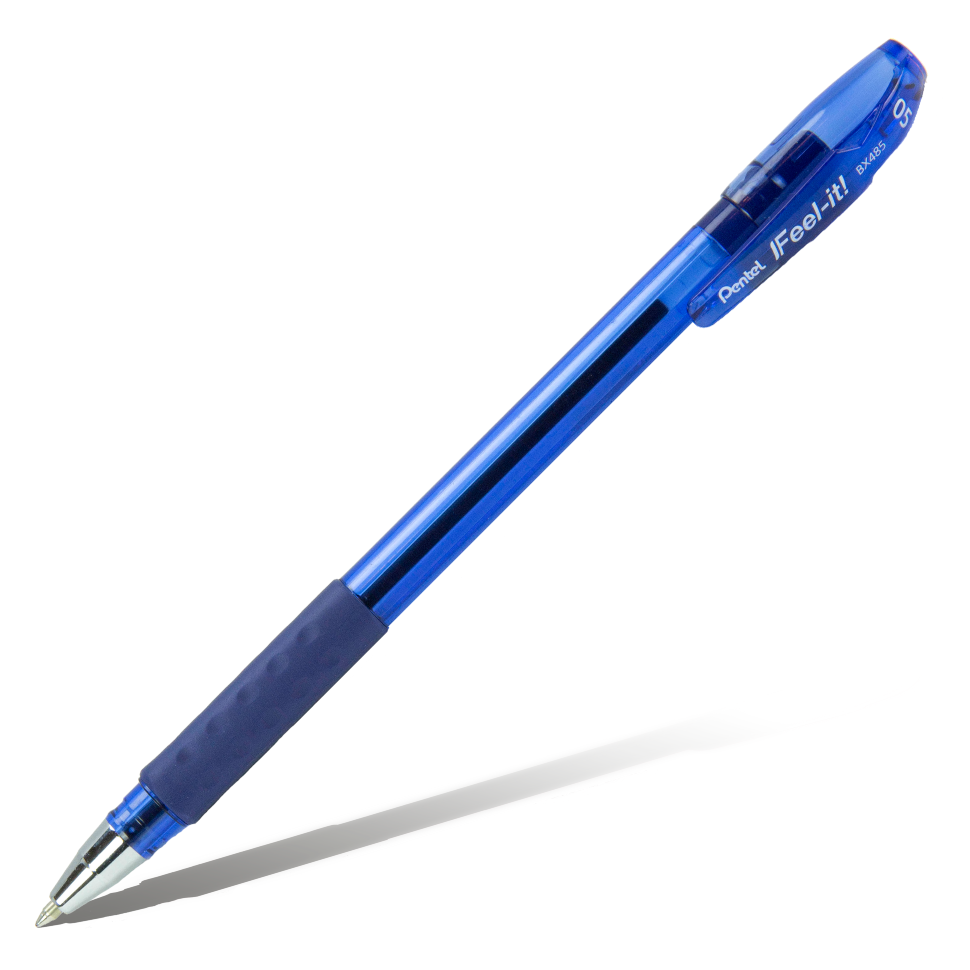 Купить Ручка шариковая Pentel Feel it!, 0, 5 мм, метал. наконечник, 3-х гранная зона захвата, синий стержень, Япония