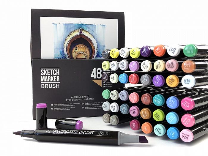 Купить Набор маркеров Sketchmarker Brush 48 Oriental style- Восточный (48 маркеров в пластиковом кейсе), Япония