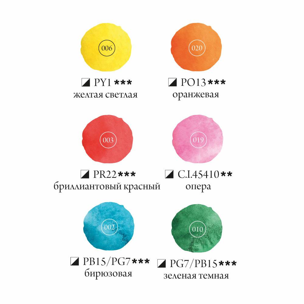 Купить Набор акварельных красок Малевичъ Frida Tropics 6 цв*12 мл, Россия