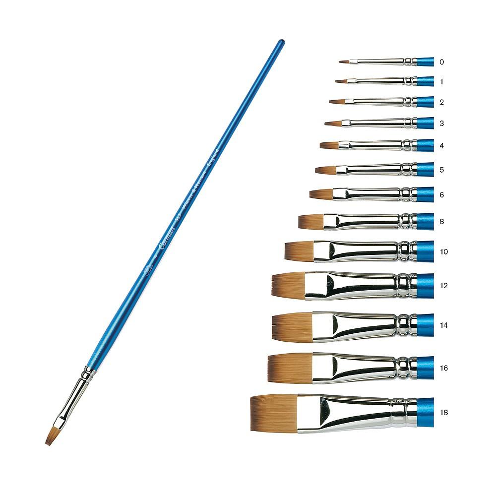 Купить Кисть синтетика №16 плоская Winsor&Newton COTMAN 555 длинная ручка, Winsor & Newton