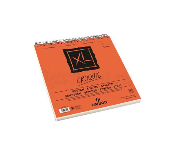 Купить Альбом для графики на спирали Canson XL Croquis 30х30 см 120 л 90 г слоновая кость, Франция
