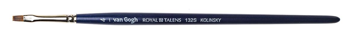 Купить Кисть колонок №4 плоская укороченная Van Gogh 132S короткая ручка, Royal Talens, Россия