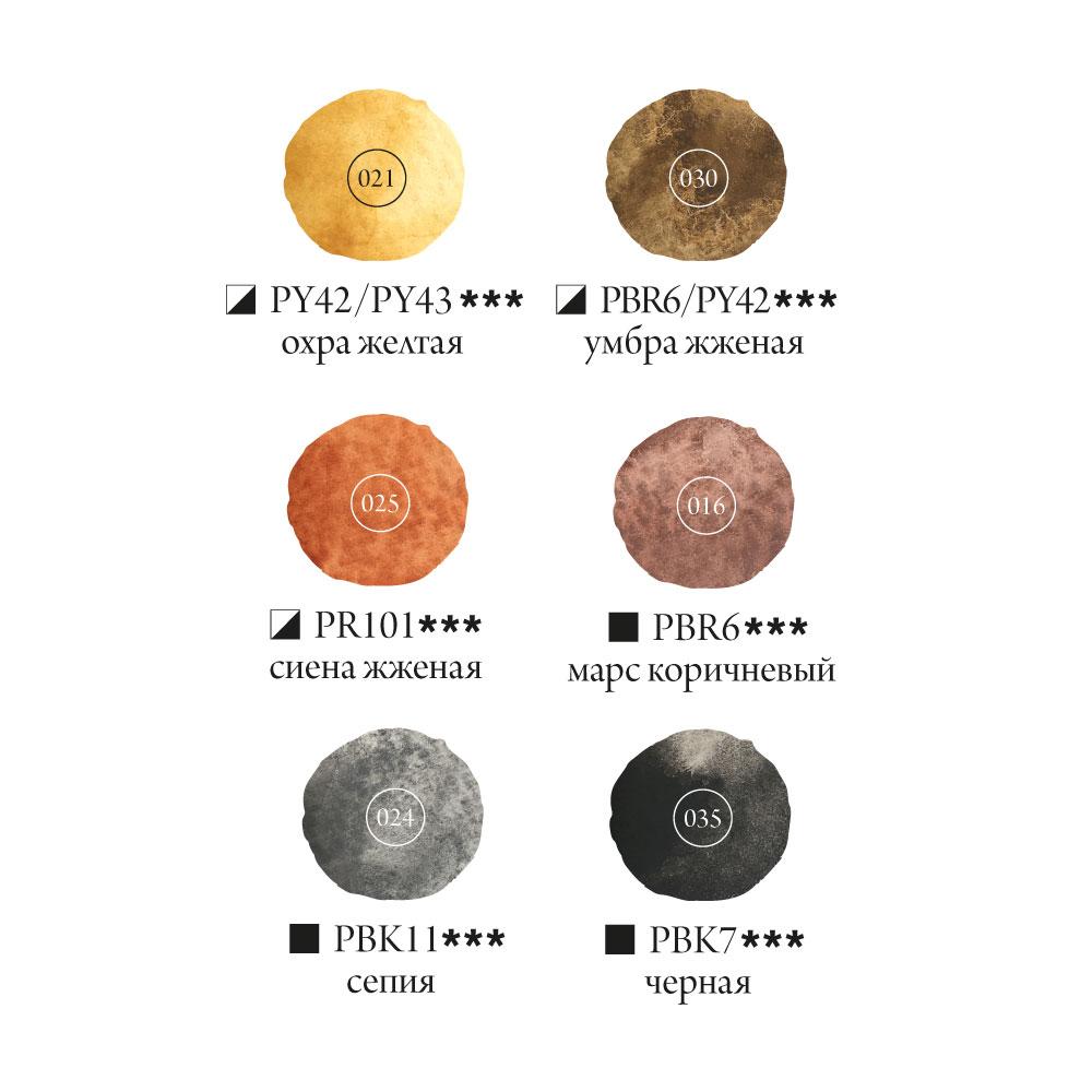 Купить Набор акварельных красок Малевичъ Frida Browns 6 цв*12 мл, Россия