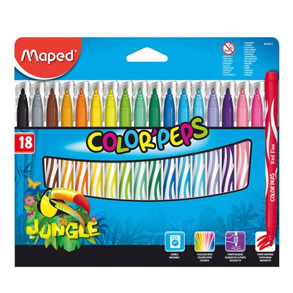 Купить Набор фломастеров Maped Color peps Jungle 18 цв в картоне, Франция
