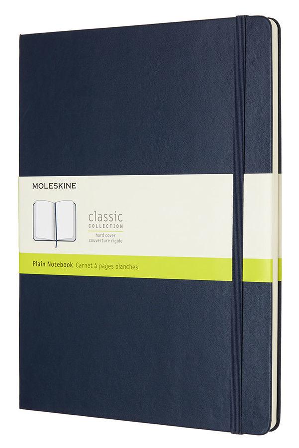 Записная книжка нелинованная Moleskine Classic XLarge 190х250 мм 192 стр обложка темно синяя.