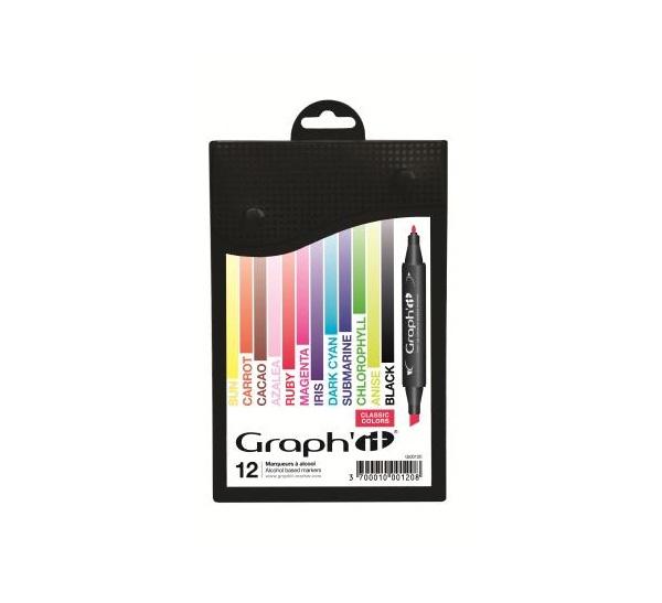 Купить Набор маркеров GRAPH'IT Classic 12 шт, основные цвета, Китай