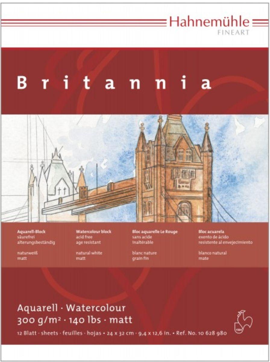 Купить Альбом-склейка для акварели Hahnemuhle Britannia 24x32 см 12 л 300 г, среднее зерно, целлюлоза 100, HAHNEMUHLE FINEART, Германия