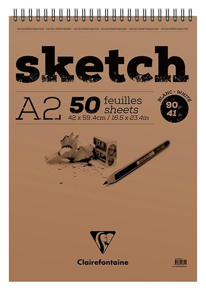 Купить Блокнот для эскизов на спирали Clairefontaine Sketch А2 50 л 90 г, с микроперфорацией, Франция