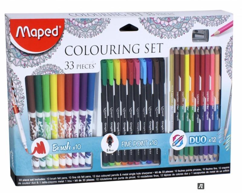 Купить Набор для рисования Maped graph'peps 10 фломастеров-кистей, 10 капил.ручек, 12 цв.карандашей, точилк, Франция