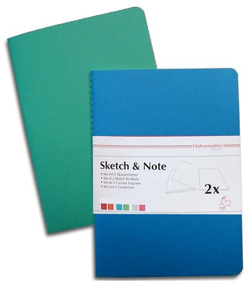 Купить Набор блокнотов Hahnemuhle Sketch&Note А5, 2 шт х 20 л 125 г Дельфин/Ментол, HAHNEMUHLE FINEART, Германия