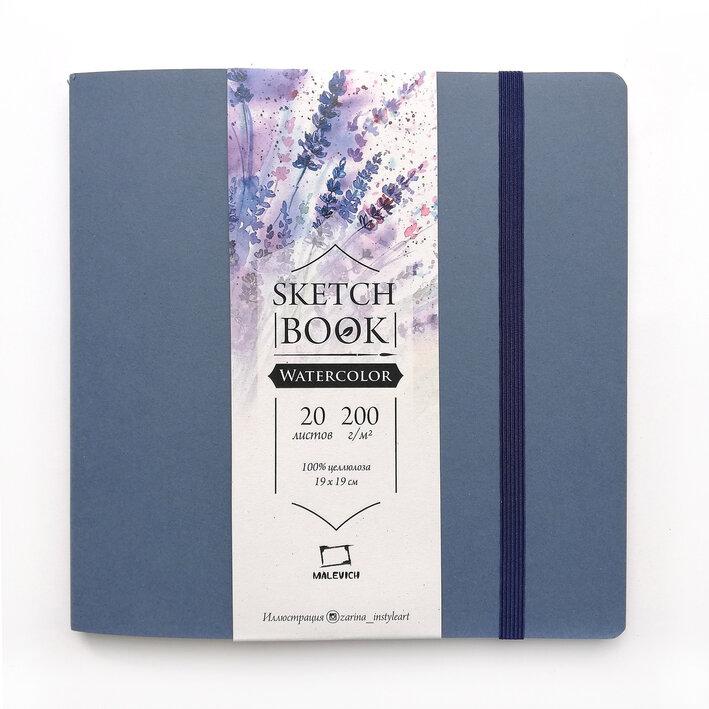 Купить Скетчбук для акварели Малевичъ Waterfall Nature мелкая фактура, 19х19 см 20 л 200 г, синий, Россия