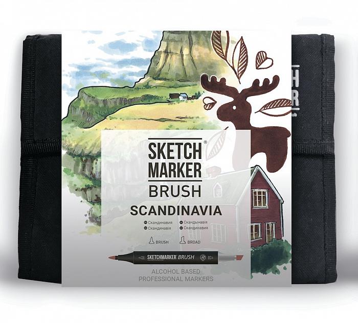 Купить Набор маркеров Sketchmarker Brush 36 Scandinavia Set- Скандинавия (36 маркеров+сумка органайзер), Япония