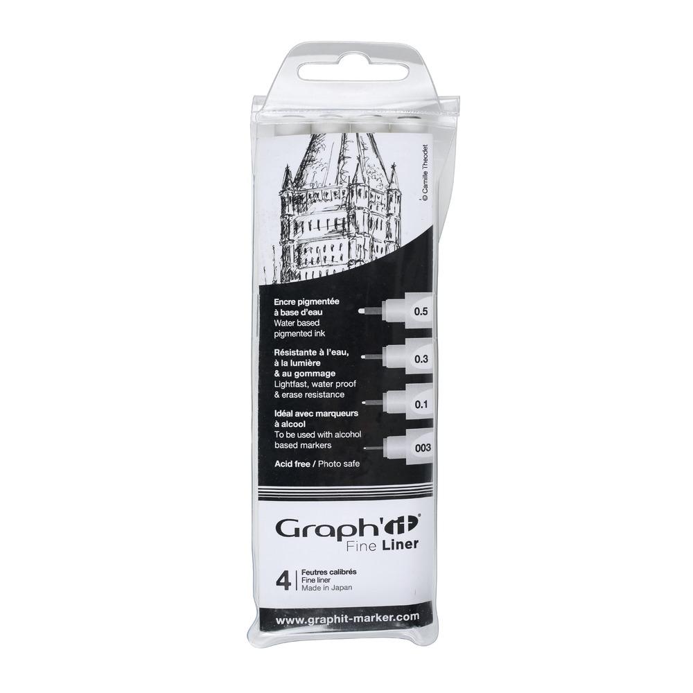 Купить Набор ручек капиллярный Graph'it 4 шт (0, 03мм, 0, 1мм, 3мм, 5мм) черный, Китай