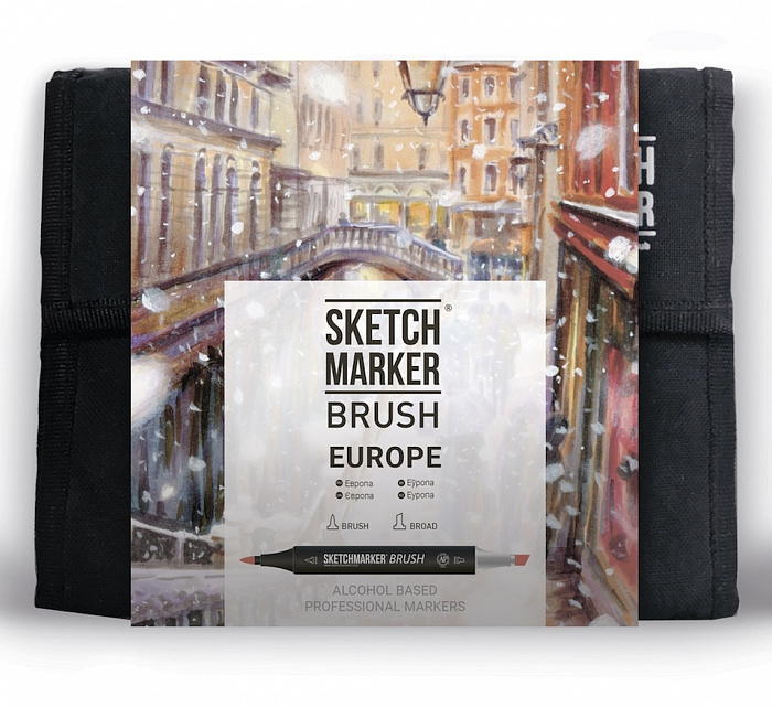 Купить Набор маркеров Sketchmarker Brush 36 Europa Set- Европа (36 маркеров+сумка органайзер), Япония