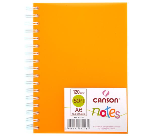 Купить Блокнот для графики на спирали Canson Notes А6 50 л 120 г, обложка пластик. оранжевая, Франция