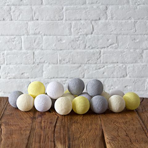 Купить Гирлянда из хлопковых шариков Lares & Penates желто-серая 20, от батареек, Lares & Penates