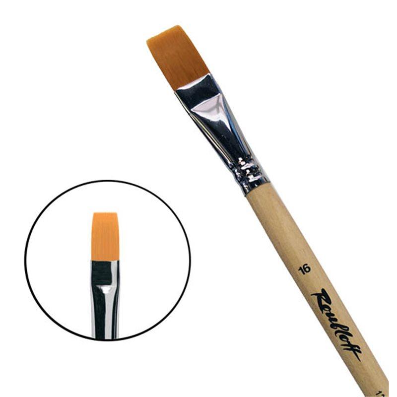 Купить Кисть синтетика №16 плоская Roubloff 1222 длинная ручка п/лак, Россия