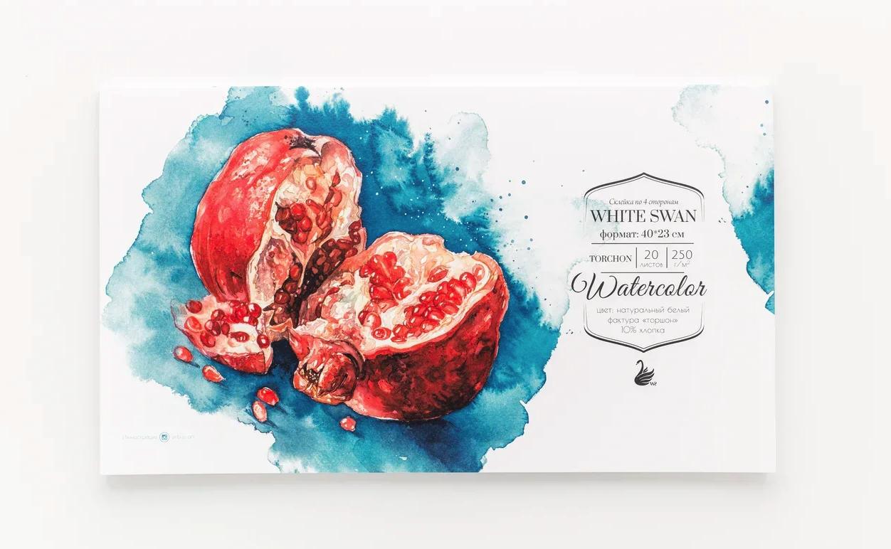 Купить Склейка для акварели White Swan , Torshon, 250 г/м2, 40х23 см, 20 л, 10% хлопок, Малевичъ, Китай
