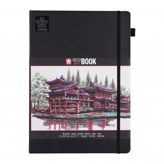 Купить Блокнот для зарисовок Sakura 21х30 см 80 л 140 г, твердая обложкая черный, Япония