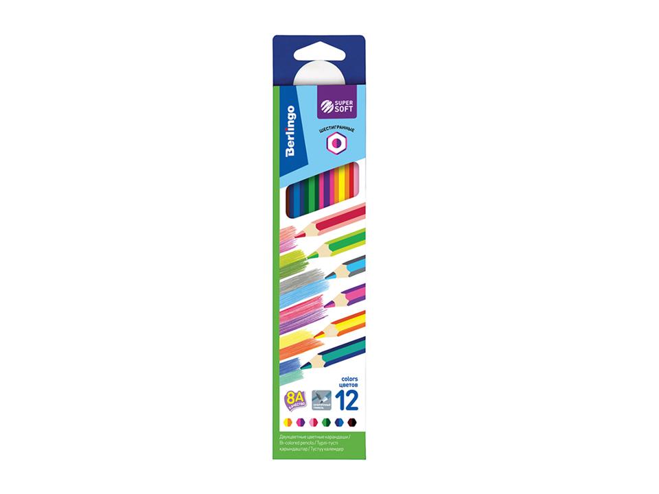 Купить Набор карандашей цветных с двухцветным грифелем Berlingo SuperSoft 2 in 1 6 цв, картон, европодвес, Россия