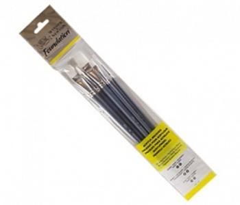 Купить Набор кистей Синтетика Winsor&Newton Foundation 6 шт длинная ручка, Winsor & Newton