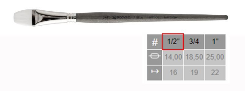 Купить Кисть синтетика №1/2 плоская Escoda Perla 1432 White Toray короткая ручка серая, Испания