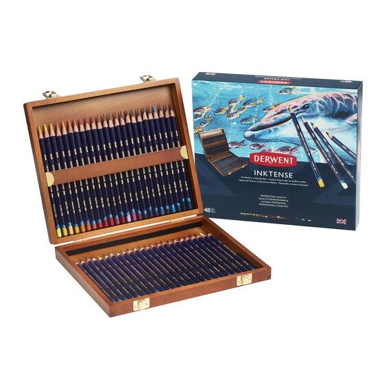 Купить Набор карандашей чернильных, подарочный Derwent Inktense 48 шт в деревянной коробке