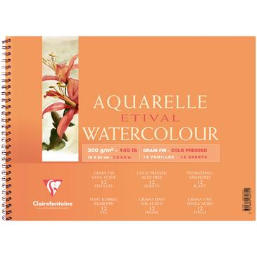 Купить Альбом для акварели на спирали Clairefontaine Etival Fin 18*24 см 12 л 300 г, Франция