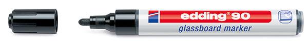 Маркер для стеклянной доски Edding 90 2-3 мм с круглым наконечником черный.