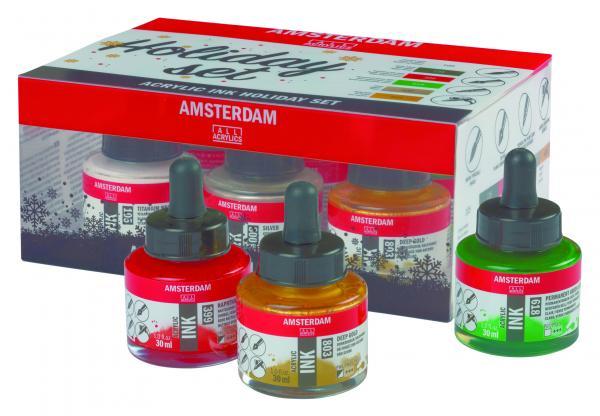 Купить Набор чернил акриловых Talens Amsterdam Holiday для леттеринга 6 цв*30 мл, Royal Talens