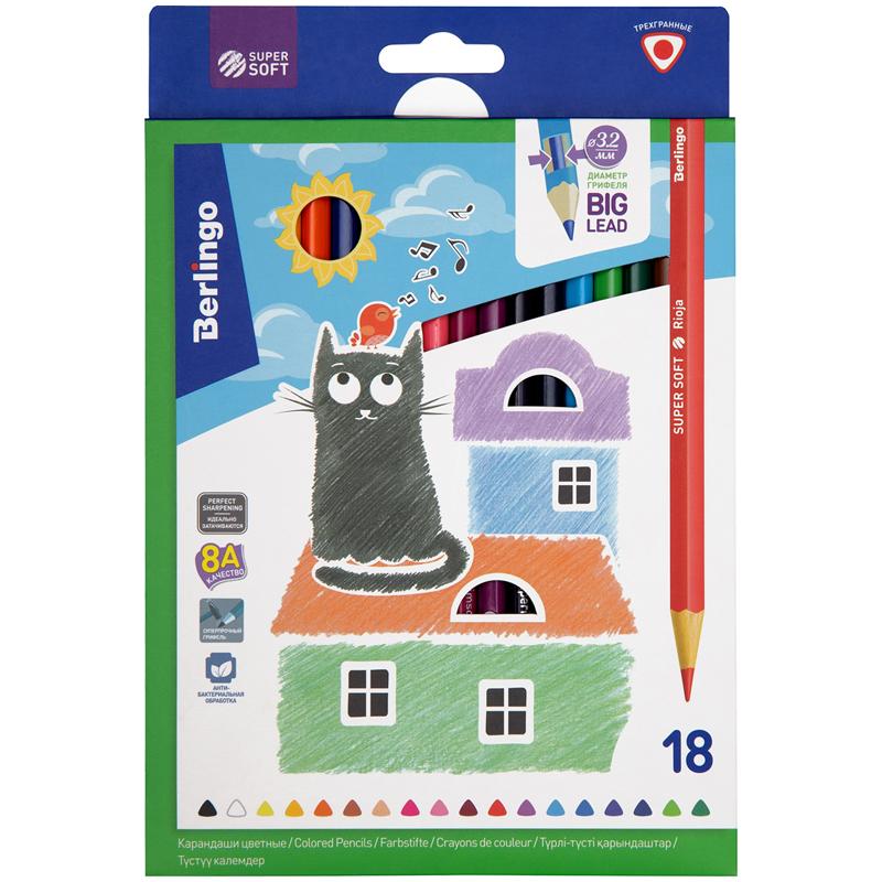 """Набор карандашей цветных Berlingo """"SuperSoft. Жил-был кот"""" 18 цв, картон"""