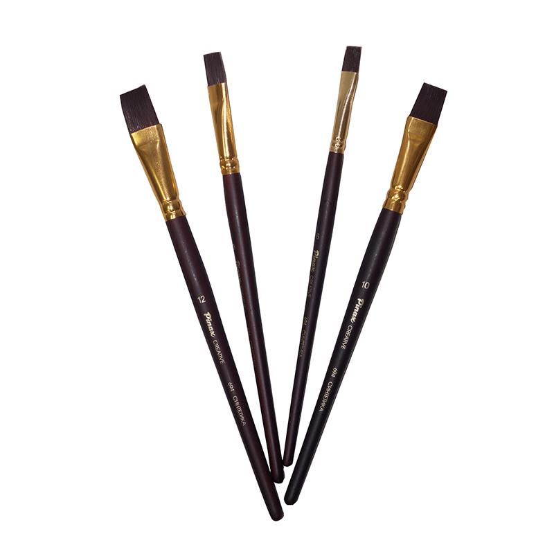Купить Кисть синтетика №14 плоская Pinax Creative 694 жесткая, короткая ручка, Китай